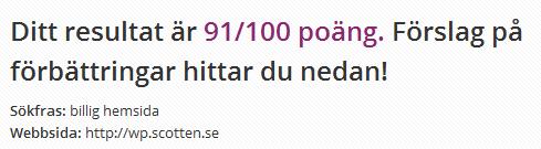 """SEO test för """"billig hemsida"""" på scotten.se"""