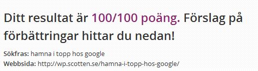 """SEO test för """"hamna i topp hos google"""""""