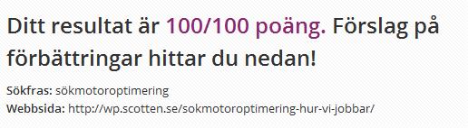 """SEO test för """"sökmotoroptimering"""""""